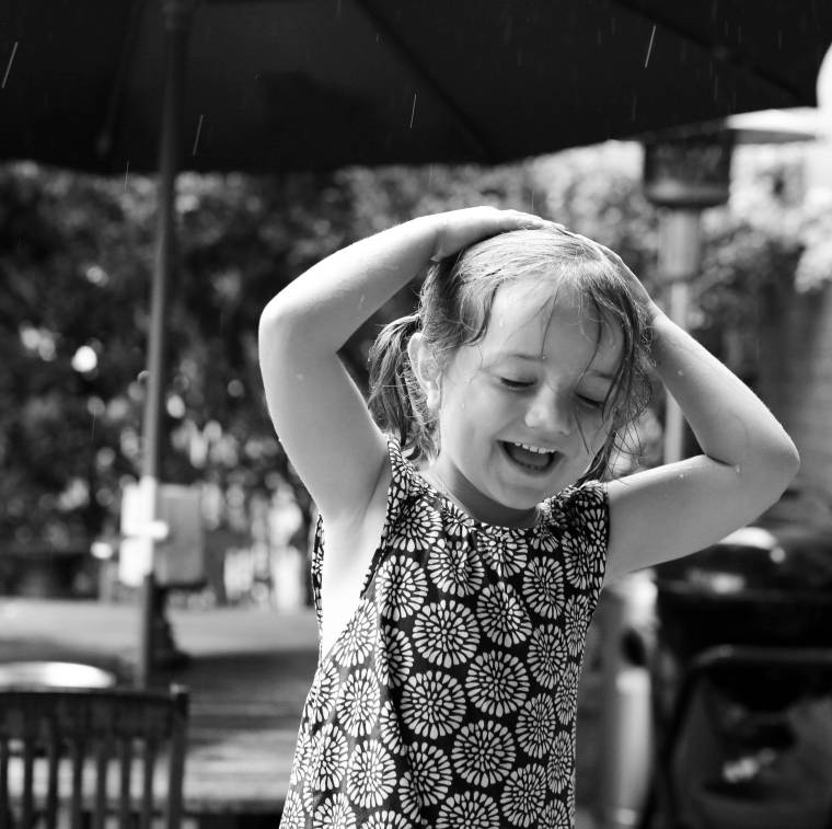 Juliet in the rain B:W